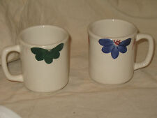 Made in Italy for Roma Inc New York Coffee Cup Mug Painted by Hand Floral SET 2!