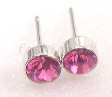 White Gold Plated 5mm Pink Rhinestone Mens Child Xmas Party Simple Stud Earrings