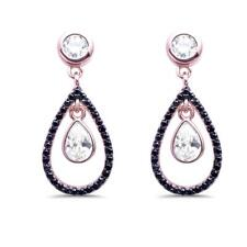Rose Gold Plated Black & White Cubic Zirconia Dangle .925 Silver Earrings