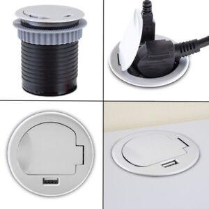 BITUXX Tischsteckdose Steckdose Einbausteckdose Rund Tisch mit USB Ladefunktion