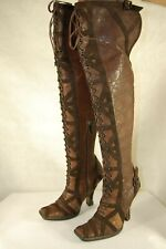DIOR VICTORIAN CONNAGE BROWN  LEATHER LACE UP OVER THE KNEE BOOTS EU 38 US 7.5