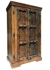 Huge Vintage Sold Wood Sheesham Indian Style Ornate Cupboard