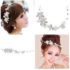 TINKSKY Wedding Bridal Crystal Rhinestones Flower & Faux Pearls Headband Tiara