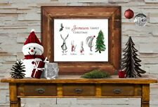 Personalised Family of Christmas Bunnies Sign - Add your own Family Name