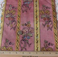 "Antique French Silk & Cotton Woven Jacquard Fabric Textile c1870~16""L X 9""W"