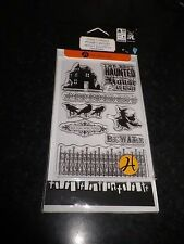 "Hampton Art"" Halloween SCO661 "" Clear Rubber Stamps and haunted house stencil"