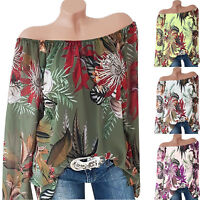 Womens Boho Floral Off Shoulder Tops Long Sleeve T- Shirt Loose Blouse Plus Size