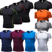 Men's Fitness Workout Shirts Crew Neck Running Gym Tops Short Sleeve Quick-dry