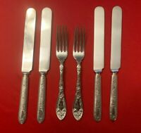 NARCISSUS Oxford Oneida Silverplate Set of 4 RARE DINNER KNIVES and 2 FORKS 1908