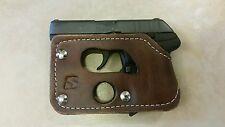Ruger Lcp 380/ Kel-Tec P3AT pocket holster wallet shoot thru brown leather