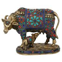 Brass Stone Stud Cow Calf Statue Idol For Home Kamdhenu Handmade Indian Art Gift