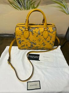 Gucci Arabesque 2way Boston Crossbody 409529 Leather GG Supreme Yellow