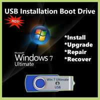 Windows 7 Ultimate USB Boot Drive 32/64bit UPGRADE INSTALL RECOVER REPAIR PC