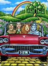 Original Wizard of Oz Emerald City 50's Car Dorothy Lion Tin-Tin Crow ACEO Print