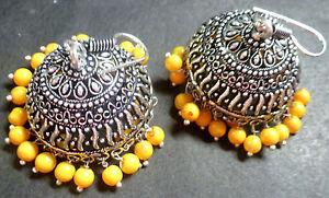 1 pair 5 cm Long 3 cm Diameter Silver Plated Yellow Bead Big Jhumka Earrings