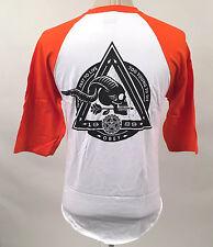 Obey Men's Baseball T-Shirt Too Fast to Live White/Orange Size L NEW Skull Arrow