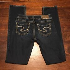 Silver Suki Womens Mid Baby Boot Cut Jeans Size 25x33 Thick Stitch Distressed