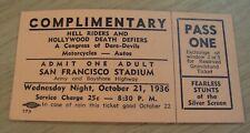 "1936 DARE-DEVIL Ticket~San Francisco~""HELL RIDERS & HOLLYWOOD DEATH DEFIERS"""