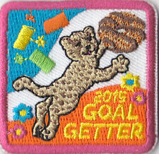 Girl Scouts Embroidered Badge Fun Patch Badge~2015 Cookies Goal Getter Cheetah