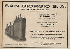 Z0500 San Giorgio - Trasformatori in olio - Pubblicità del 1927 - Advertising