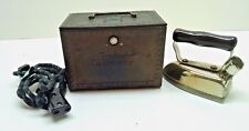 Antique Sunbeam Electric Iron Model NO S2 With cord and Case Works Nice!