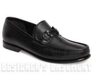 SALVATORE FERRAGAMO black 9E CROWN black Gancini Bit loafers shoes NIB Auth $660