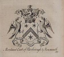 1779 Antiguo impresión ~ Mordaunt ~ Familia Crest Escudo de Armas Earl of Peterborough