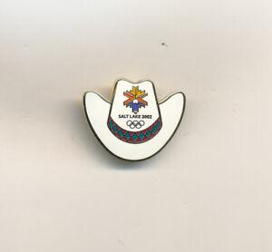 White Cowboy Hat With Logo Salt Lake 2002 Olympic Pin