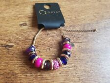 OPIA PINK PURPLE GOLD EMBELLISHED DIAMANTE MULTI LINK BEAD CHARM BRACELET