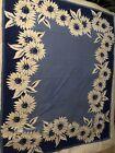 "vintage tablecloth blue white flowers 53""x64"""