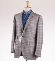 NWT $3800 ORAZIO LUCIANO Brown-Orange-Blue Check Wool Sport Coat 42 R (Eu 52)