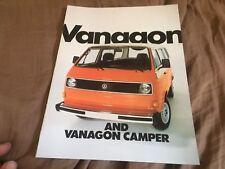 1982 VW Volkswagen Vanagon Bus Westfalia  USA Market Brochure Catalog Prospekt