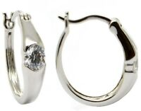 1.00 Carat Gypsy Set Cubic Zirconia Huggie Hoop Earrings in Sterling Silver