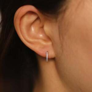10mm Diamond Huggie Hoop Earrings Mini Diamond Hoop Earrings, Single or Pair