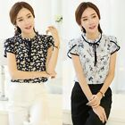 S-3XL Plue Size Women Chiffon Blouse Short Sleeve Floral Print Top T-shirt Shirt