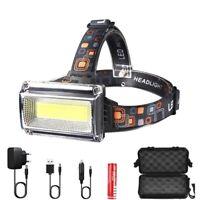 COB LED Headlamp DC Rechargeable Head Lamp Torch Headlight Hunting Fishing Light