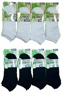 3 6 Pairs Men's Ladies Bamboo Breathable Low Cut Ankle Black White Trainer Socks