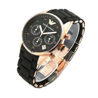 NEW  AUTHNETIC EMPORIO ARMANI AR5905 ROSE GOLD BLACK SILICONE MENS WATCH UK