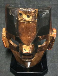 MEXICAN Handmade Face Mask Resin And Tiger Eye Stone AZTEC Statue  Marble Stand