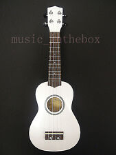 "Beautiful White 21"" Wooden Soprano Ukulele(Rosewood Fingerboard & Bridge) & Bag"