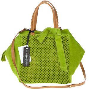 ROBERTA GANDOLFI Italian Made Green Perforated Suede Designer Tote Bag with Bow