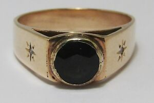 100% Genuine Vintage 9ct Solid Yellow Gold 0.75 carats Sapphire Ring Sz 7.5 US