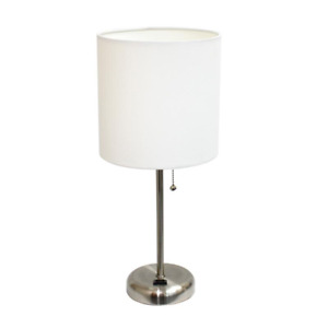 LimeLights Modern Silver Metal Stick Lamp with Outlet and Fabric Shade, White