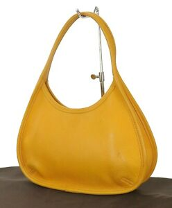 Authentic COACH Yellow Leather Tote Hand Bag Purse #35056