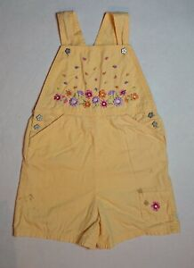 """Laura Ashley Mother Child Girls Short Overalls Embroidered Flowers 7 Years 48"""""""