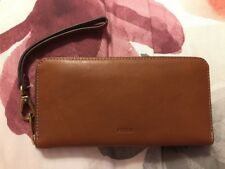 Fossil Emma RFID large Zip Clutch Brown Nwts Msrp $85