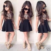 Summer Kids Baby Girls Dress Leopard Printing Short Sleeve Dress Clothes 2-9Y UK