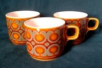 HORNSEA POTTERY BRONTE PATTERN TEA CUP EARTHENWARE TEACUP BROWN WHITE AND GREEN