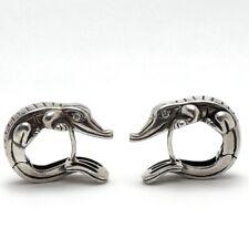 Kieselstein Cord Sterling Silver Diamond Alligator Nesting Huggie Hoop Earrings