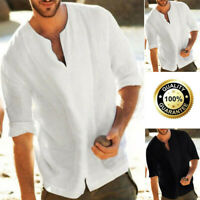 Men's Cotton Linen Solid 3/4 Sleeve V Neck T Shirt Casual Baggy Tops Blouse Tee